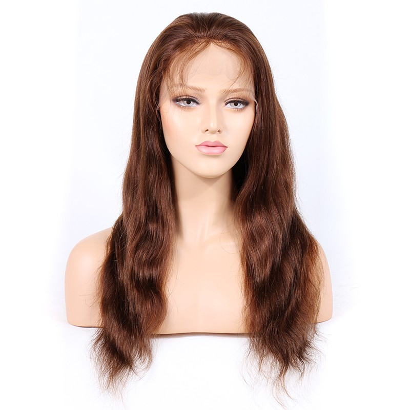 WowEbony #4/30 Highlight Color Glueless Full Lace Wigs Indian Virgin Hair Natural Straight [GHLFW07]