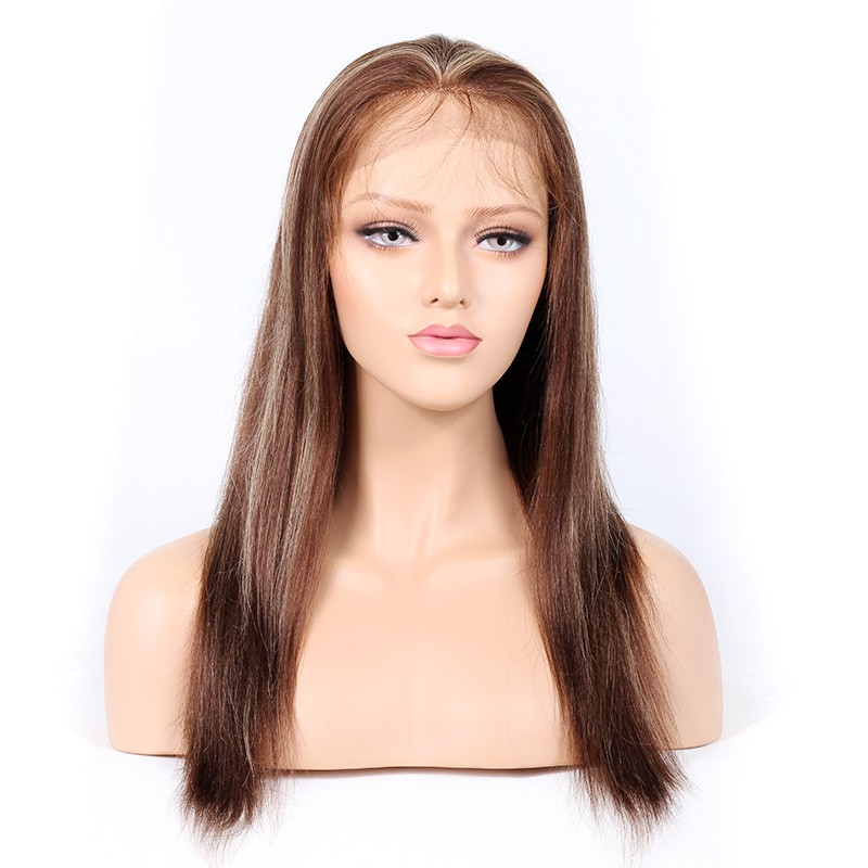 WowEbony Indian Virgin Hair Light Yaki  #4/27 Highlight Color Glueless Full Lace Wigs[GHLFW04]