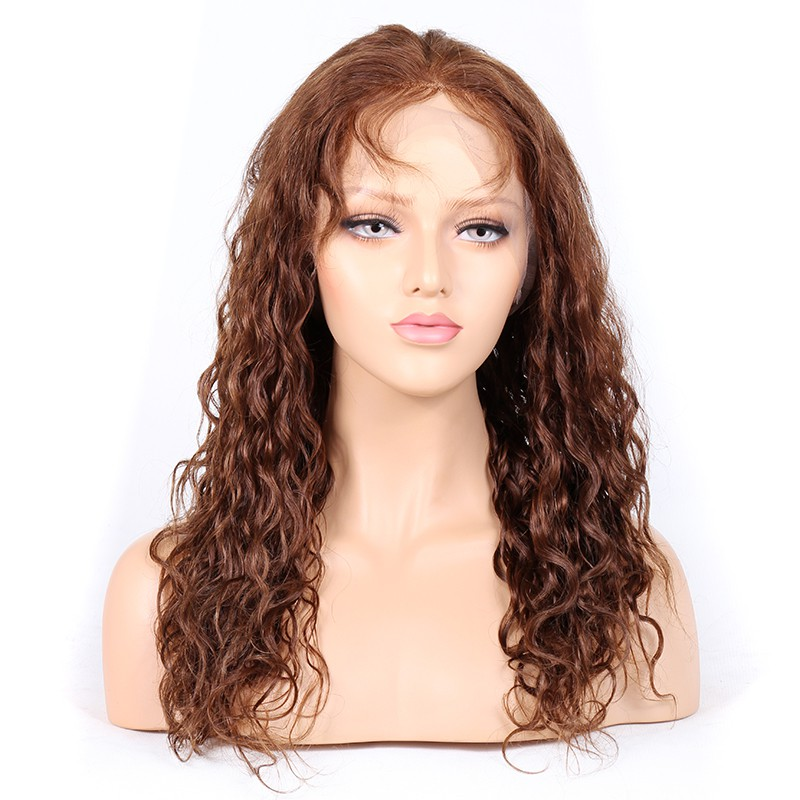 #4/30 Highlight Color Lace Front Wigs Indian Virgin Human Hair 25mm Curl