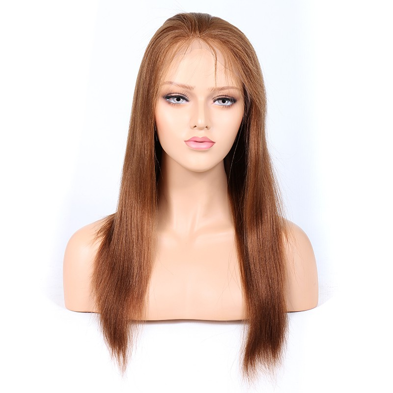 WowEbony Blonde #30 Color Glueless Full Lace Wigs Peruvian Virgin Hair Light Yaki [GBLFW07]