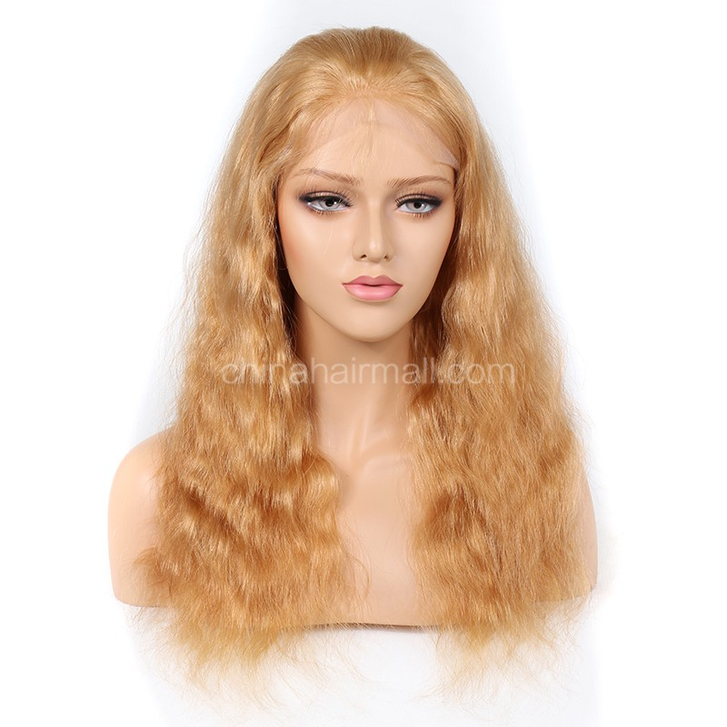 Blonde #27 Color Full Lace Wigs Peruvian Virgin Hair Natural Wave