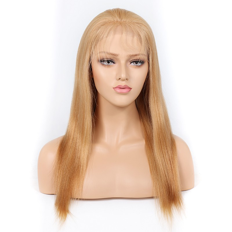 WowEbony Blonde #27 Color Full Lace Wigs Peruvian Virgin Hair Light Yaki [BLFW06]