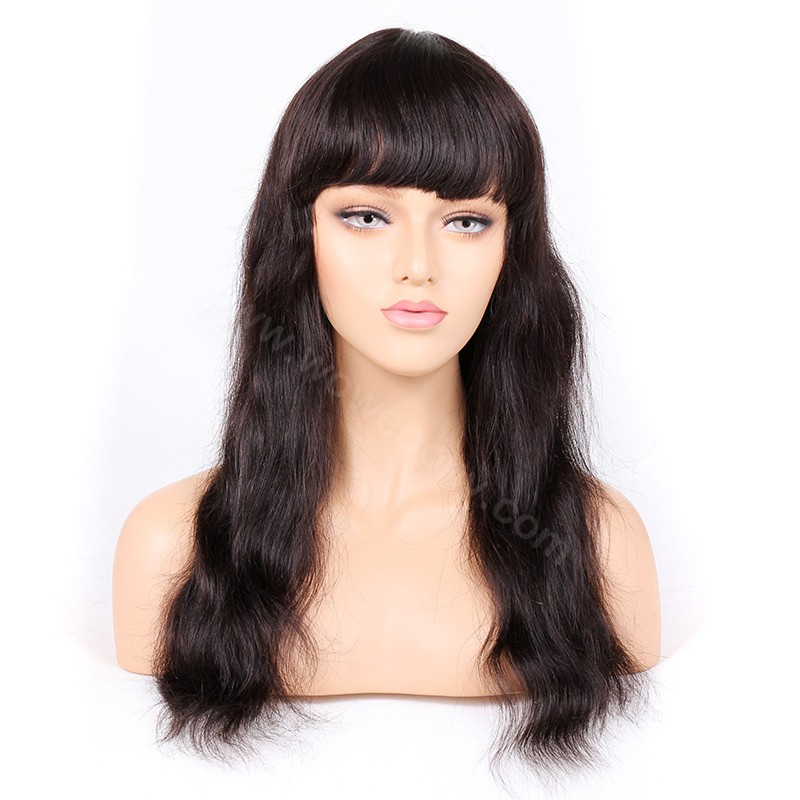 Indian Remy Hair Full Bangs Natural Straight Glueless Silk Top Non-Lace Wig