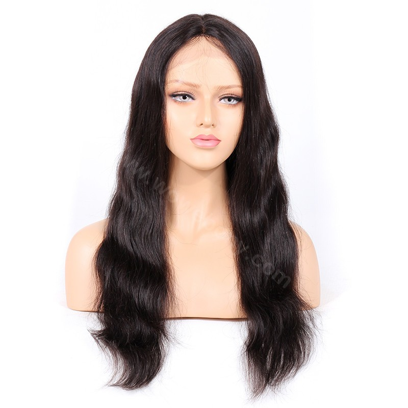 Indian Remy Hair Natural Wave Glueless Silk Part Lace Wig