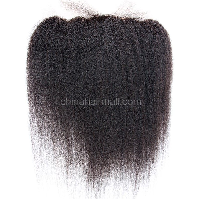 Malaysian Virgin Human Hair Popular 13*4 Lace Frontal with 4*4 Silk Base Kinky Straight Natural Hair Line and Baby Hair [MVKSSLF]