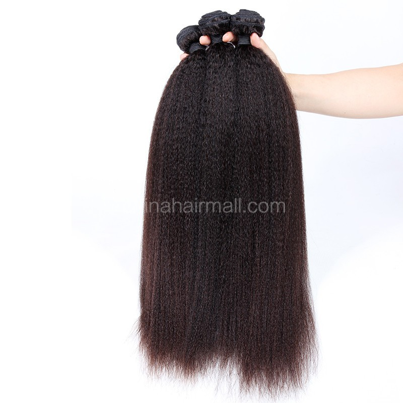 Brazilian virgin unprocessed human hair wefts Kinky Straight 3 pieces a lot Hair Bundles 95g/pc [BVKS03]