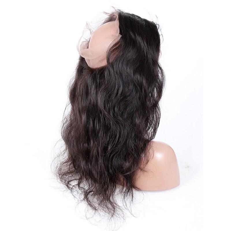"Peruvian Virgin Hair 360 Lace Frontal Closure 22.5""*4"" Elastic Band Natural Color Body Wave"