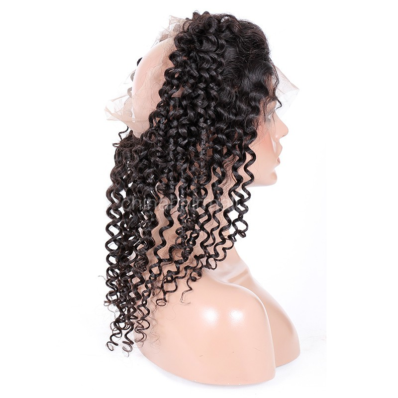 "Peruvian Virgin Hair 360 Lace Frontal Closure 22.5""*4"" Elastic Band Natural Color Candy Curl"