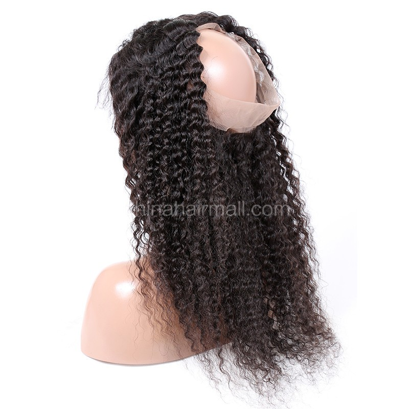 "Indian Remy Hair 360 Lace Frontal Closure 22.5""*4"" Elastic Band Natural Color Deep Wave"