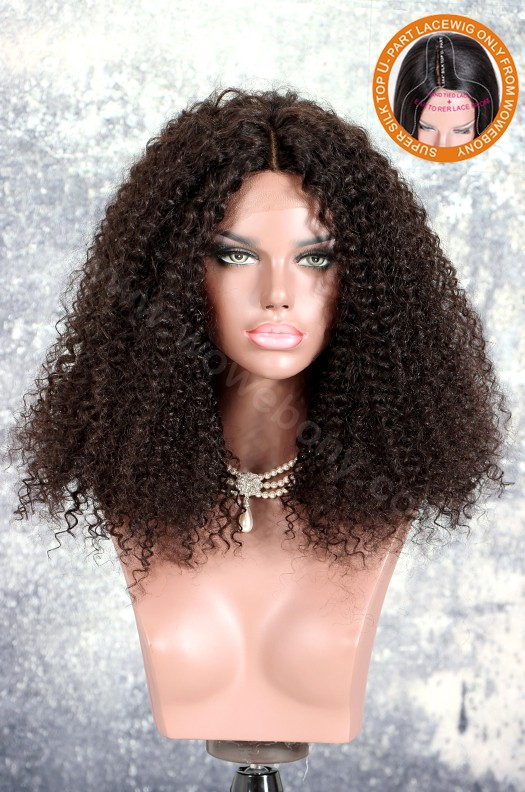 New Designed Indian Remy Hair Afro Curl Glueless Silk Part Lace Wig Middle Part [SPLW19]