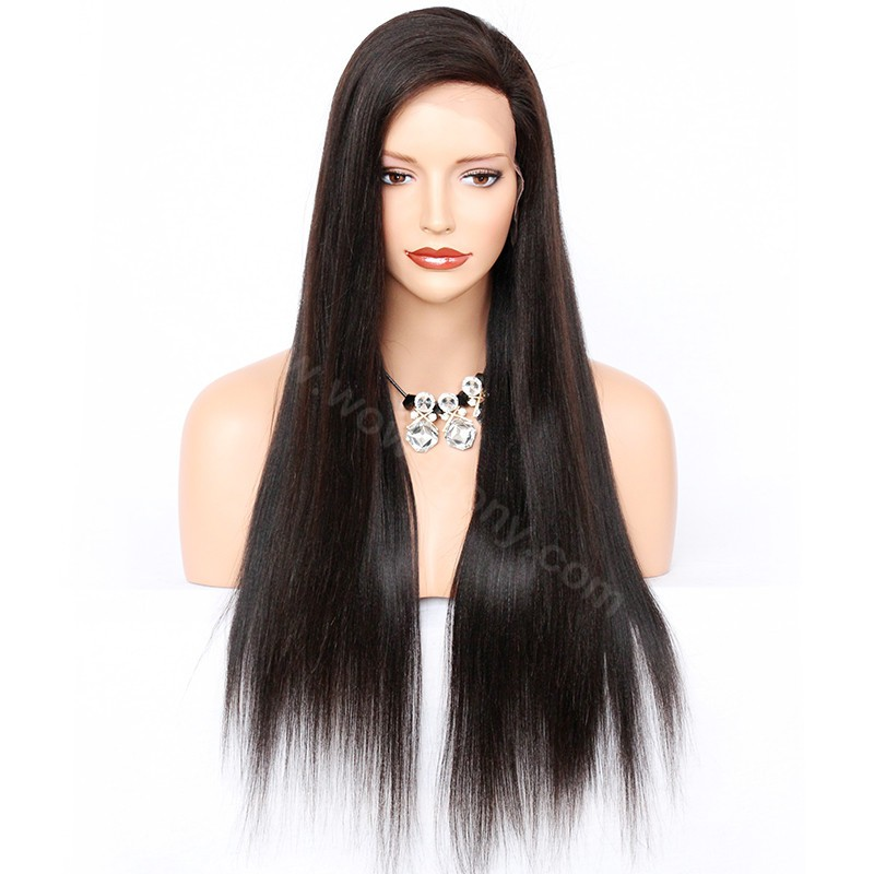 Glueless Full Lace Wigs Malaysian Virgin Hair Yaki Straight