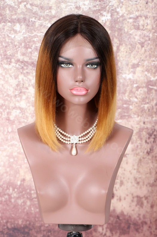 Brazilian Virgin Human Hair Ombre Color NC/30/27A Glueless Lace Part Lace Wig