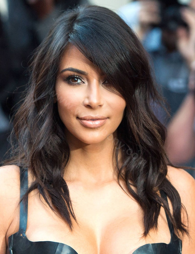 Kim Kardashian Inspired Glueless Lace Front Wigs Indian Remy Hair Middle Length Bob Cut Wigs