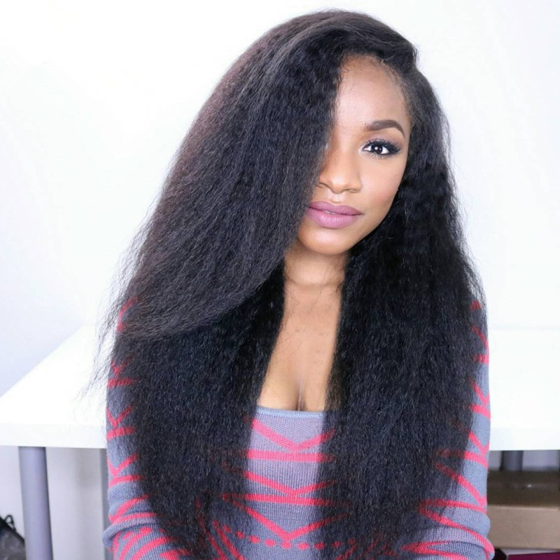180% Density Brazilian Virgin Hair Pre-plucked Hairline 360 Lace Wig Kinky Straight