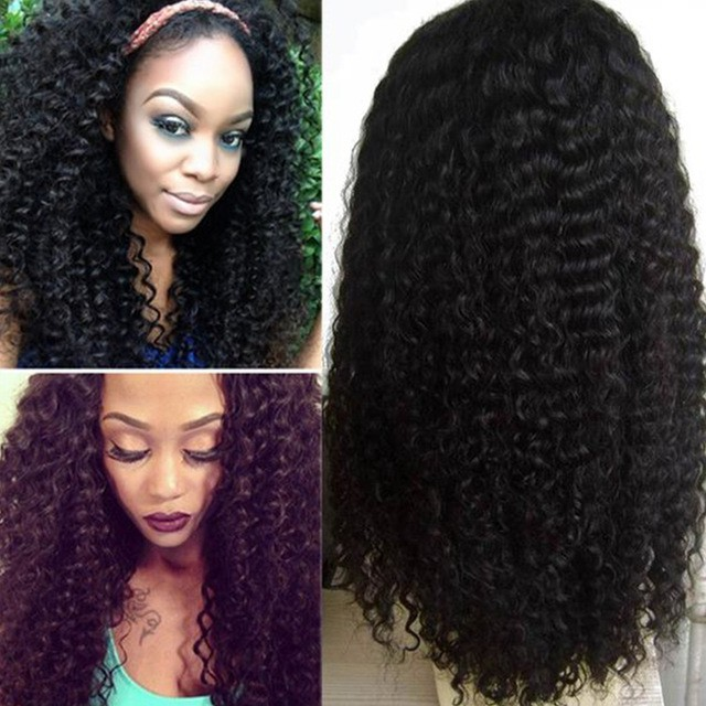 180% density Indian Remy Hair Pre-plucked Hairline 360 Lace Wigs Kinky Curl