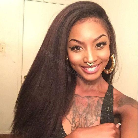 Glueless Full Lace Wigs Peruvian Virgin Hair Italian Yaki Straight