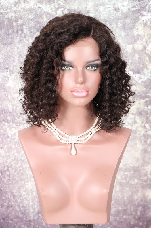 New Summer Style Lace Front Wigs Indian Remy Curly Hair Natural Color Bob Wig [NEW03]