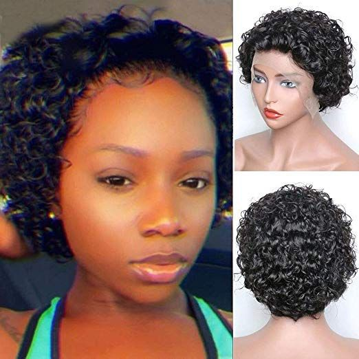 Affordable Wigs: WowEbony Natural Color or Burgandy 99J Color  Indian Remy Hair Curly Short Cut T Part Lace Front Wigs[Tuya]