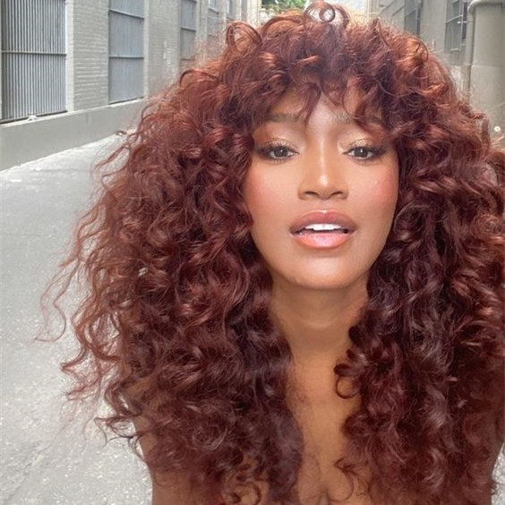 WoWEbony Indian Remy Hair Full Bangs 3A Curly Hair Glueless 3.5 x 3 Silk Top Closure Wig [Bangs04]