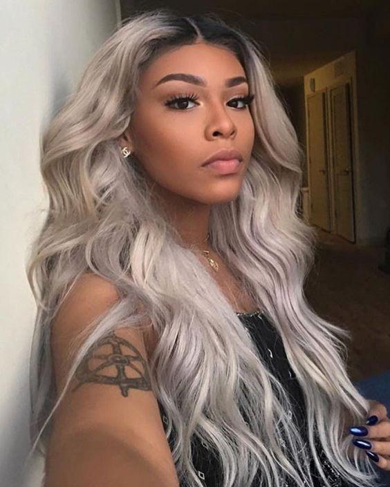 Luxury WowEbony Human Hair Wavy Silver Grey Lace Front Wig [Silver]