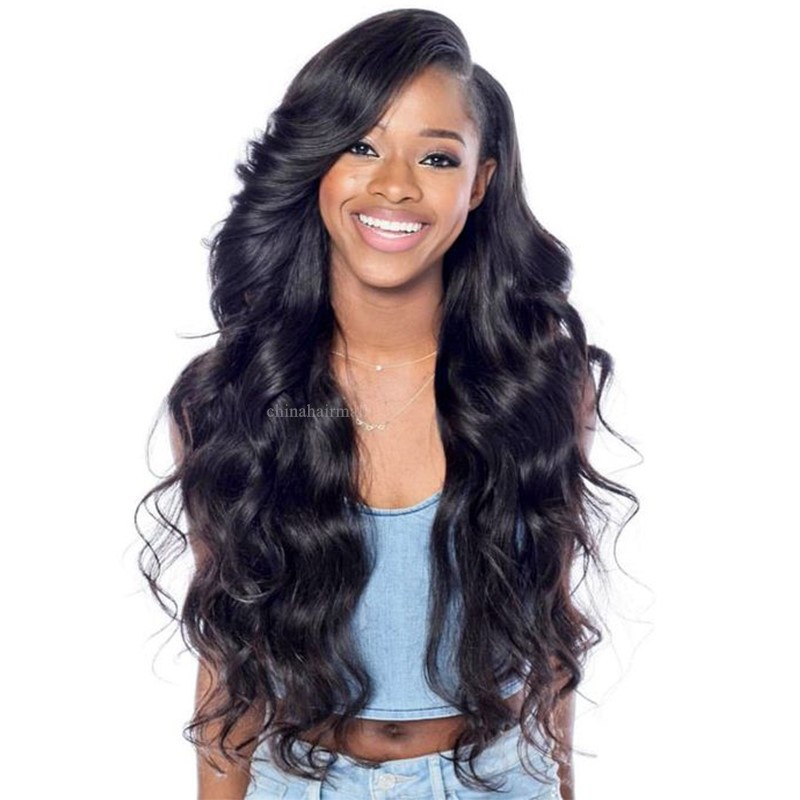 Pre-plucked Glueless Full Lace Wigs Indian Remy Hair Big Body Wave