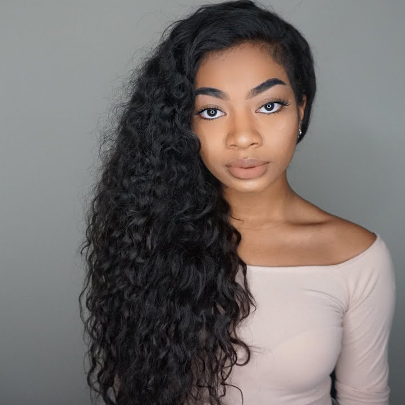 WowEbony 6 inches Deep Part Wavy Lace Front Wigs Indian Remy Hair, 150% Density, Natural Color [DLFW04]