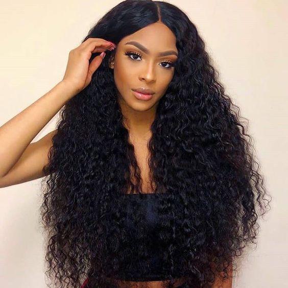 Same Day Shipping WoWEbony Brazilian Virgin Hair Natural Color Brazilian Curl Full Lace Wigs [BCFLW01]