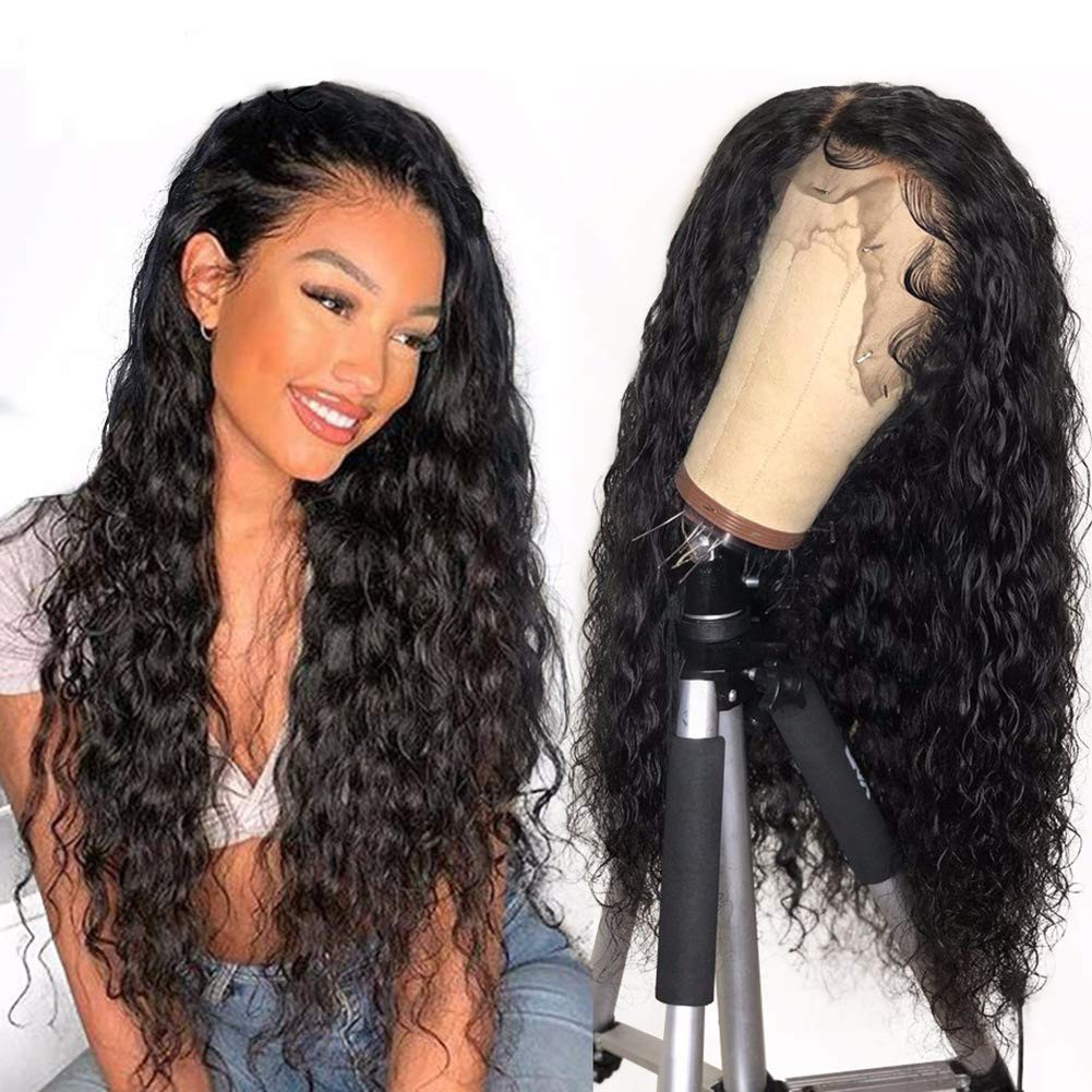 WowEbony Invisible HD Transparent Indian Remy Hair Wet Beach Wave 13x6 Lace Front Wigs [HDW09]