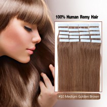 Seamless tape in hair extensions in virgin remy human hair medium golden brown #10 color straight 0.8*4cm size 20 pcs per set [TP20-10]