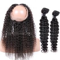 Malaysian Virgin Human Hair 360 Band Lace Frontal 22.5*4*2 Inch + 2 Bundles Deep Wave