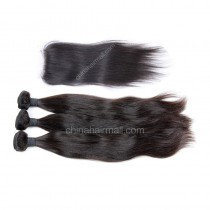 Malaysian virgin unprocessed natural color human hair wefts and 4*4 Lace Closure Natural Straight 3+1 pieces a lot Hair Bundles 95g/pc [MVNS3+1]