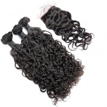Malaysian virgin unprocessed natural color human hair wefts and 4*4 Lace Closure Loose Curl 3+1 pieces a lot Hair Bundles 95g/pc [MVLC3+1]