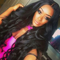 150% density Brazilian Virgin Hair 360 Lace Wigs Wavy 360 Wigs