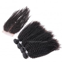 Brazilian virgin unprocessed human hair wefts and 4*4 Lace Closure Afro Kinky Curly 4+1 pieces a lot Hair Bundles 95g/pc [BVAKC4+1]