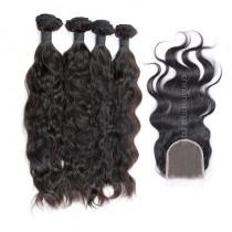 Peruvian virgin unprocessed human hair wefts and 4*4 Lace Closure Natural Wave 4+1 pieces a lot Natural Color Hair Bundles 95g/pc [PVNW4+1]