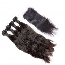 Peruvian virgin unprocessed human hair wefts and 4*4 Lace Closure Natural Straight 4+1 pieces a lot Natural Color Hair Bundles 95g/pc [PVNS4+1]