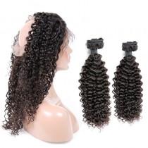 Malaysian Virgin Human Hair 360 Band Lace Frontal 22.5*4*2 Inch + 2 Bundles