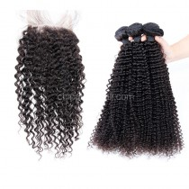 Peruvian virgin unprocessed human hair wefts and 4*4 Lace Closure Kinky Curly 3 +1 pieces a lot Natural Color Hair Bundles 95g/pc [PVKC3+1]