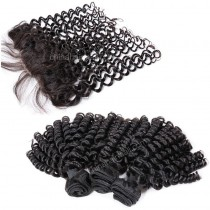 Brazilian virgin unprocessed human hair wefts and 13*4 Lace Frontal Bouncy Curly 3+1 pieces a lot Hair Bundles 95g/pc [BVBCLF3+1]