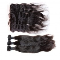 Peruvian virgin unprocessed human hair wefts and 13*4 Lace Frontal Natural Color Natural Straight 3 +1 pieces a lot  [PVNSLF3 +1]