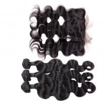 Brazilian virgin unprocessed human hair wefts and 13*4 Lace Frontal Body Wave 3+1 pieces a lot Hair Bundles 95g/pc [BVBWLF3+1]