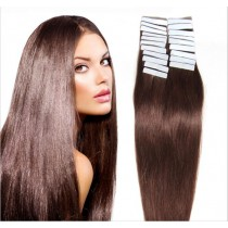 Seamless tape in hair extensions in virgin remy human hair dark aubum #33 color straight 0.8*4cm size 40 pcs per set [TP40-33]
