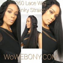 WowEbony 6 Inches Dee Part Pre-Plucked Kinky Straight 360 Lace Wigs 150% density, 100% Indian Remy Hair 360 Wig [N360KS01]