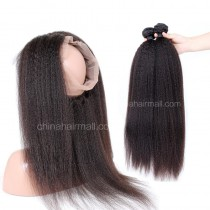 Malaysian Virgin Human Hair 360 Band Lace Frontal 22.5*4*2 Inch + 2 Bundles Kinky Straight