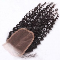 Malaysian Virgin Human Hair 4*4 Popular Lace Closure Afro Curly Natural Hair Line and Baby Hair [MVAKCTC]