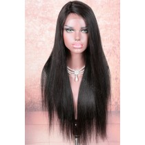 In Stock Indian Remy Hair Yaki Straight Glueless Silk Part Lace Wig Middle Part, 20 Inches, 180% Hair Density, Natural Color [SPLW21]