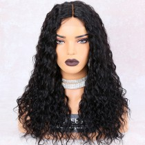 WowEbony 150% Density Big Wavy Glueless Lace Part Affordable Lace Wig Indian Remy Hair, Medium Cap Size [LPLW18]