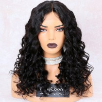 WowEbony 150% Density Big Wave Glueless Lace Part Affordable Lace Wig Indian Remy Hair, Medium Cap Size [LPLW17]
