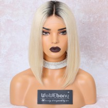 WowEbony Blonde Hair Dark Root Bob Cut Lace Front Wigs, Indian Remy Hair, Silk Straight, 12 Inches, 150% Density[IR4.5DPOM2]