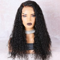 Deep Left Part Lace Front Wigs Indian Remy Hair Permanent Loose Curl Bob Wig [NEW09]